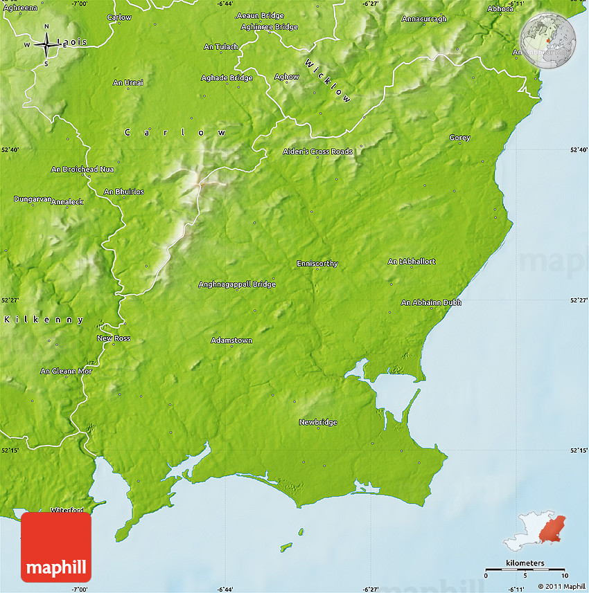 Wexford Map Of Ireland.Physical Map Of Wexford