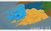 Political 3D Map of South West, darken
