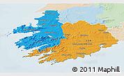 Political 3D Map of South West, lighten