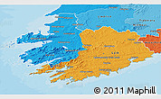 Political 3D Map of South West, political shades outside