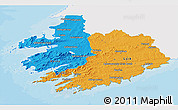 Political 3D Map of South West, single color outside