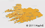 Political Shades 3D Map of South West, cropped outside