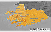 Political Shades 3D Map of South West, darken, desaturated