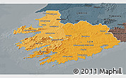 Political Shades 3D Map of South West, darken, semi-desaturated