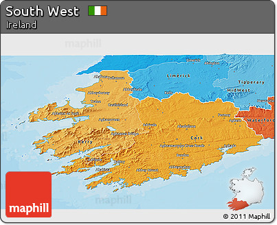 Political Shades 3D Map of South West