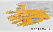 Political Shades 3D Map of South West, lighten, desaturated