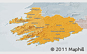 Political Shades 3D Map of South West, lighten, semi-desaturated