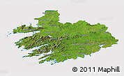 Satellite 3D Map of South West, cropped outside