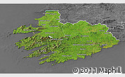 Satellite 3D Map of South West, desaturated