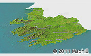 Satellite 3D Map of South West, single color outside