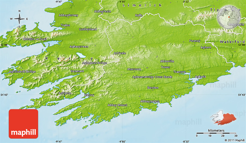 Physical Map Of Cork