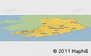 Savanna Style Panoramic Map of Cork, single color outside