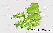Physical Map of Kerry, cropped outside