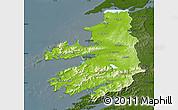 Physical Map of Kerry, darken