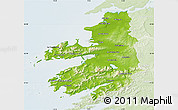 Physical Map of Kerry, lighten