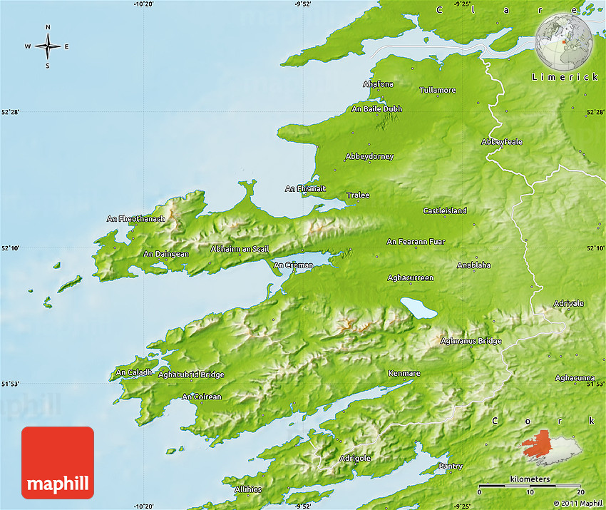 Map Of The West Of Ireland.Physical Map Of Kerry