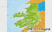 Physical Map of Kerry, political outside