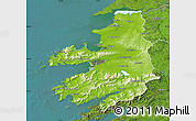Physical Map of Kerry, satellite outside