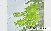 Physical Map of Kerry, semi-desaturated