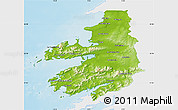 Physical Map of Kerry, single color outside