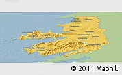 Savanna Style Panoramic Map of Kerry, single color outside