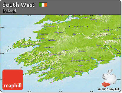 Physical Map of South West
