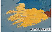 Political Shades Map of South West, darken