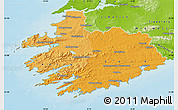 Political Shades Map of South West, physical outside