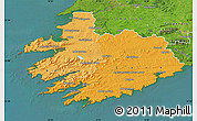 Political Shades Map of South West, satellite outside