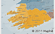 Political Shades Map of South West, semi-desaturated