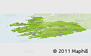 Physical Panoramic Map of South West, lighten