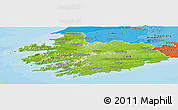 Physical Panoramic Map of South West, political shades outside