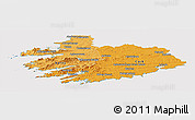 Political Shades Panoramic Map of South West, cropped outside