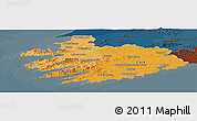 Political Shades Panoramic Map of South West, darken