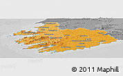 Political Shades Panoramic Map of South West, desaturated