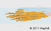 Political Shades Panoramic Map of South West, lighten