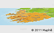 Political Shades Panoramic Map of South West, physical outside