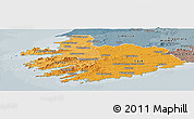 Political Shades Panoramic Map of South West, semi-desaturated