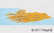 Political Shades Panoramic Map of South West, single color outside