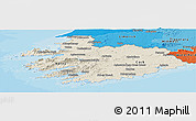 Shaded Relief Panoramic Map of South West, political shades outside