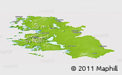 Physical Panoramic Map of West, cropped outside