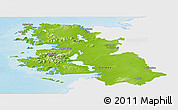 Physical Panoramic Map of West, single color outside