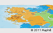 Political Shades Panoramic Map of West