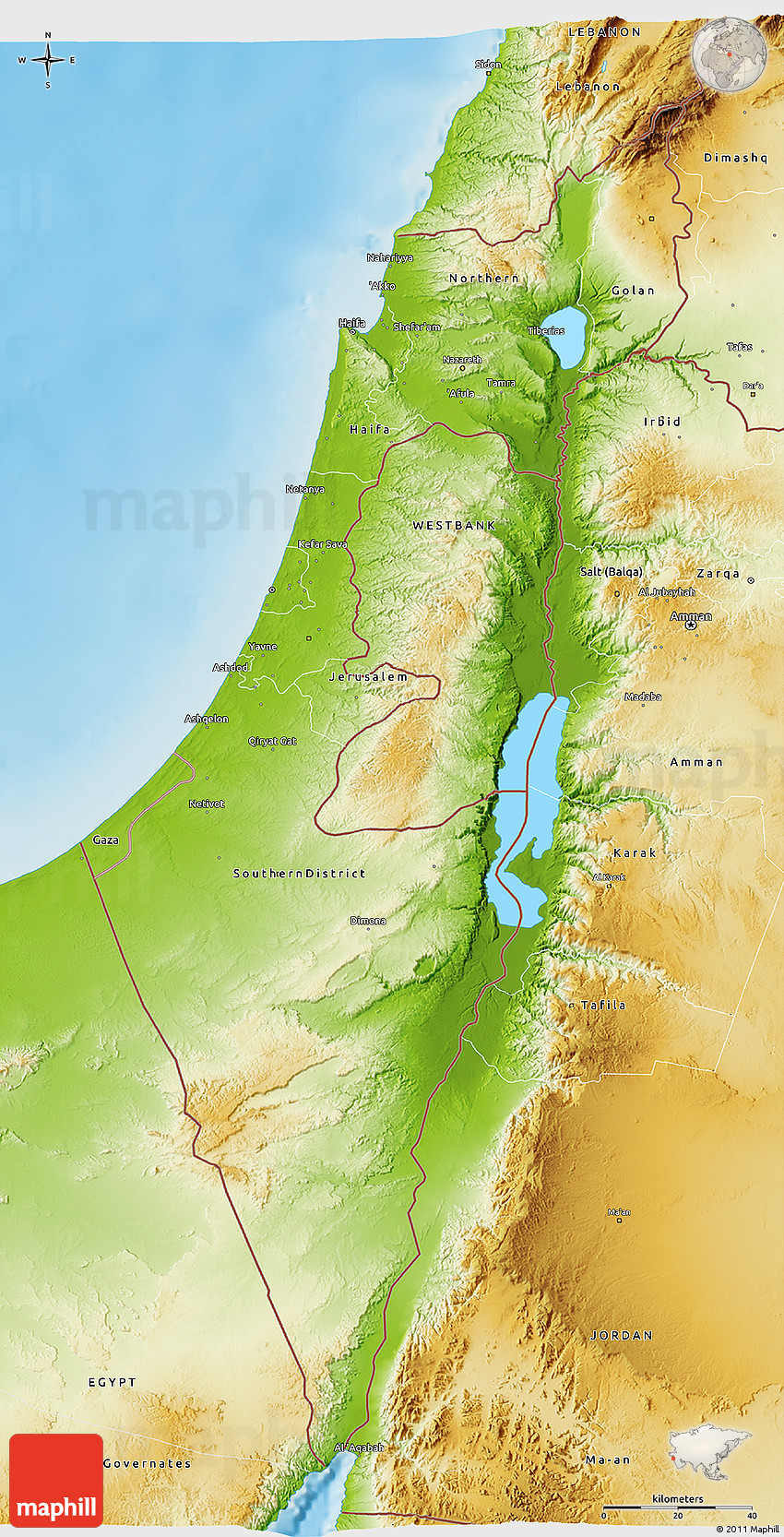 Physical 3D Map of Israel