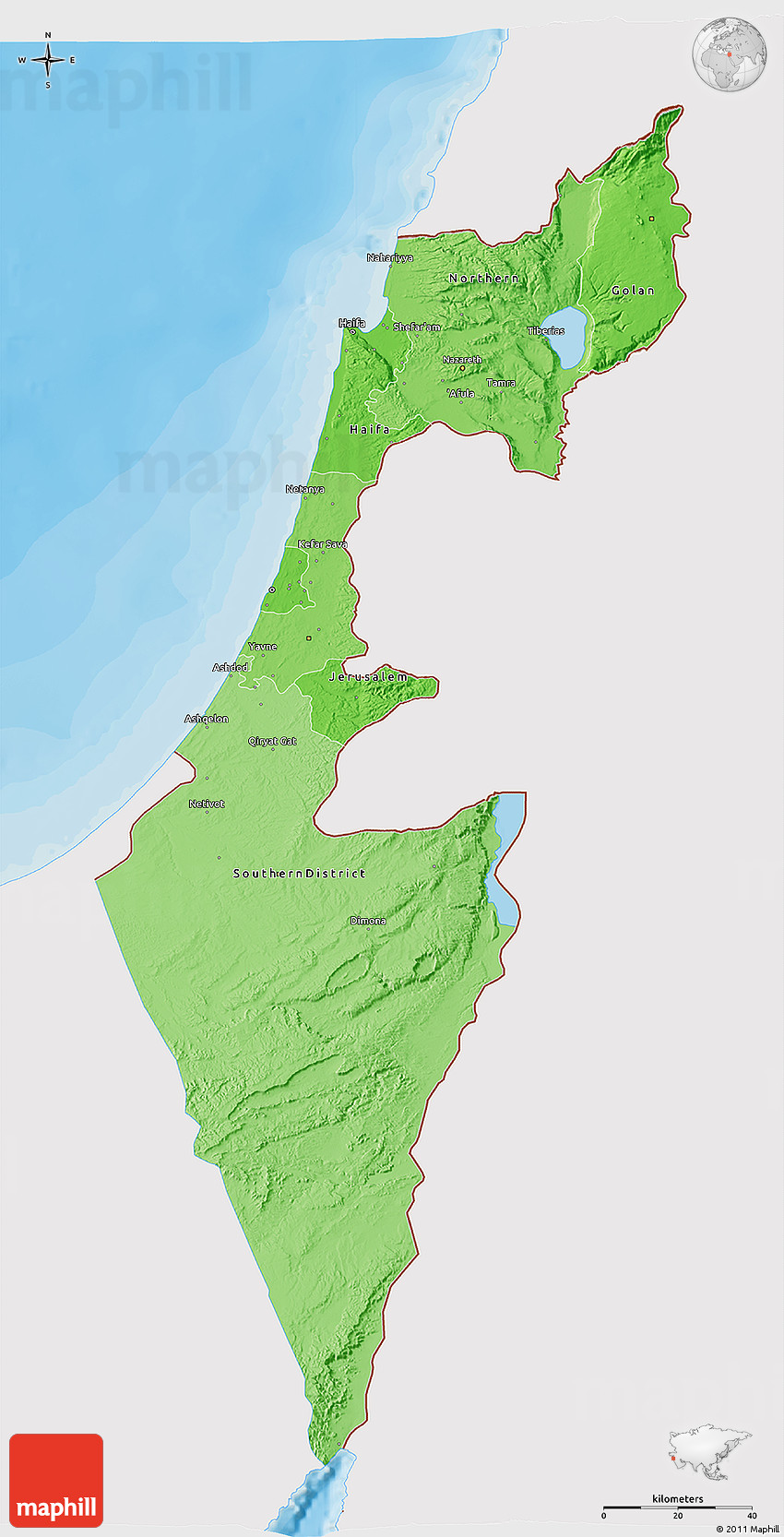 political shades 3d map of israel  single color outside