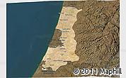 Satellite 3D Map of Central District, darken