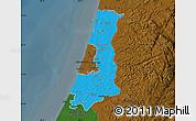 Political Map of Central District, darken