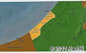 Political 3D Map of Gaza, darken