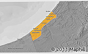 Political 3D Map of Gaza, desaturated