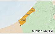 Political 3D Map of Gaza, lighten